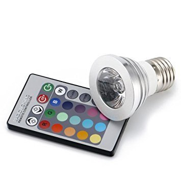 E27 85V-265V 3W Multi-color RGB LED Light Lamp Bulb with IR Remote Controller