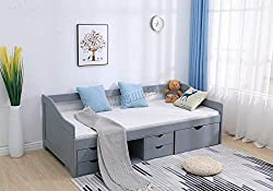 WestWood 3ft Single Daybed Solid Wood Frame No Mattress With 5 Storage Drawers Guest Bed Furniture DSW03 Grey