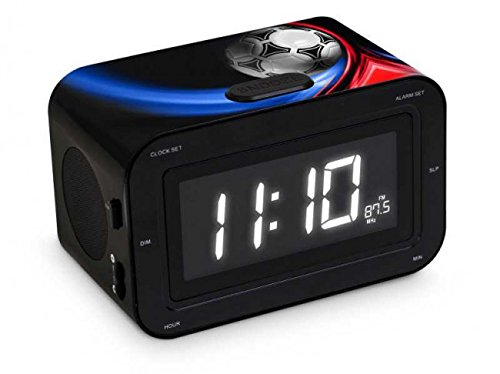 BigBen Interactive Radio Despertador Infantil con Números Grandes Diseño Balón, Plástico, Negro...