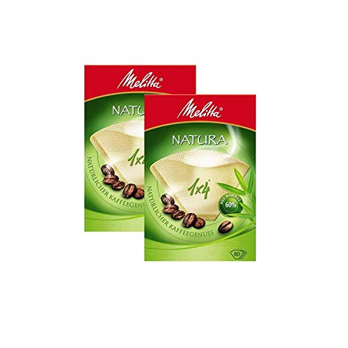 Melitta Natura Kaffeefilter, Größe 1x 4, 2 Packungen à 80Stück - 4 Cone Kaffee-filter