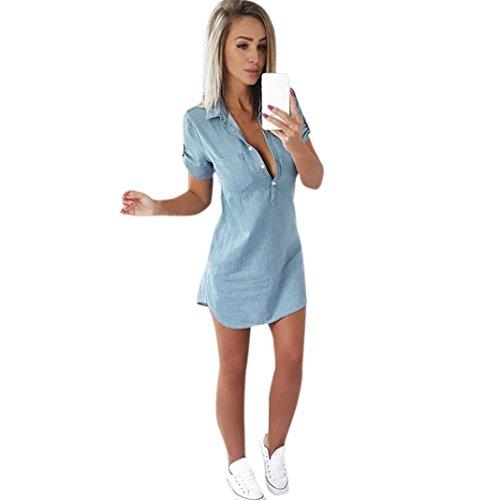 Denim Kleid Damen FORH Frauen Kurzarm Jeans-Kleid Hemdkleid Umlegekragen Blusekleid Vintage Basic Jeanskleid Fashion Sommerkleid Partykleid Abendkleid Minikleid Kleidung (Blau, S) (Klassische Denim-overalls)