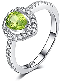 JewelryPalace Pear 0.8ct Natural Peridot 925 Sterling Silver Ring