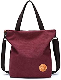 755a2f1a428a9 JANSBEN Damen Canvas Handtasche Schultertasche Casual Multifunktionale  Umhängetaschen Groß für Arbeit Schule Shopper Lässige täglich