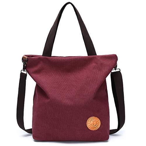 JANSBEN Damen Canvas Handtasche Schultertasche Casual Multifunktionale Umhängetaschen Strandtasche Groß für Arbeit Schule Shopper Beach (weinrot) -