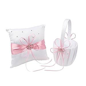 chengJellyLibrary Hochzeitsset Korb und Ringkissen Schleife Blumenanzug für Hochzeit Dekoration Zubehör Party Supplies Rose