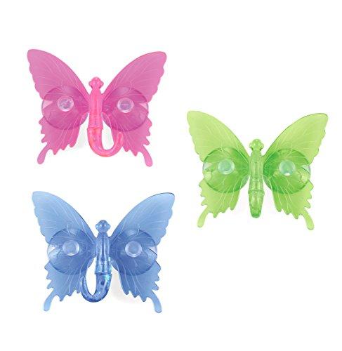 Outlook design italia butterfly 2 ganci a ventosa, acrilico, multicolore, 8 x 9 cm