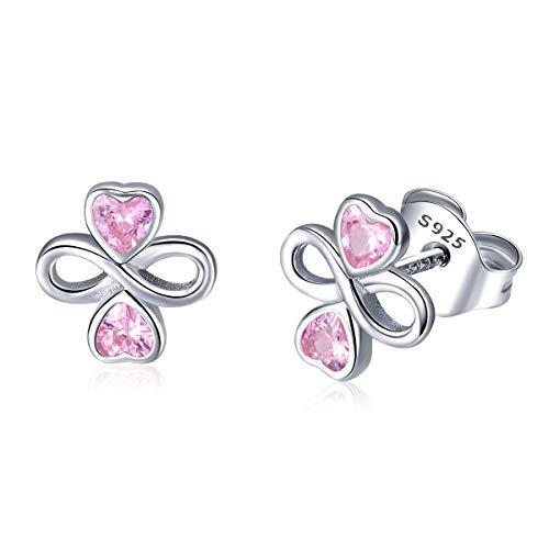 Qings orecchini da donna cuore in argento s925 con rosa zircone a perno cuoricini regalo di san valentino