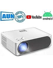 AUN Full HD Projector, AUN AKEY6S Full HD Android Projector Smart Projector 1GB RAM 8GB ROM 5800 Lumens Home Theater Projector 1080P Full HD LED Projector WiFi Bluetooth Miracast (Android Version Smart)
