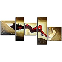 Raybre Art® 5pcs/set Lienzo Pintura al óleo Abstracta 100% Pintados a mano Cuadros Modernos Pinturas de Mujeres Desnuda La Bella Durmiente para Arte Pared Decoración Hogar, Sin Bastidor