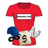T-Shirt Panzerknacker Kostüm-Set Wunschnummer Cap Maske Karneval Damen XS - 3XL Fasching JGA Weiberfastnacht, Größe:XL, Logo & Set:Wunsch-Nr./Set Deluxe+ (Wunsch-Nr./Shirt+Cap+Maske+Hands.+Beut.)