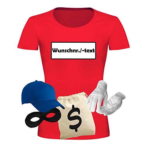 T-Shirt Panzerknacker Kostüm-Set Deluxe+ Cap Maske Karneval Damen XS - 3XL Fasching JGA Sitzung Weiberfastnacht, Größe:L, Logo & Set:Wunsch-Nr./Set Deluxe+ (Wunsch-Nr./Shirt+Cap+Maske+Hands.+Beut.)