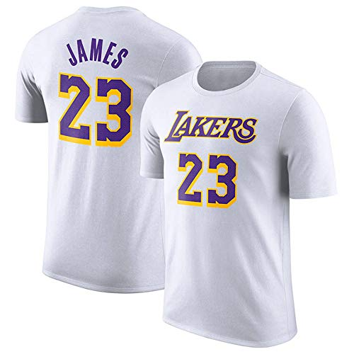 Herren T-Shirt NBA Los Angeles Lakers Lebron James Jersey Rundhals Atmungsaktives Basketball-Shirt für die Jugend Top Komfortables Sport-T-Shirt White-S (Lebron Jersey White James)