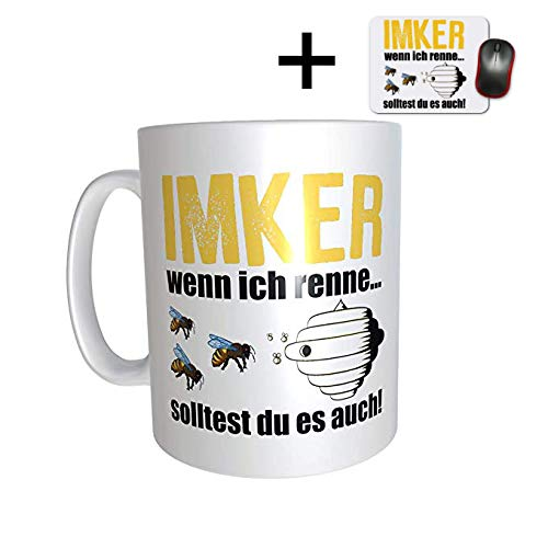 GreatThings4Family Imker Tasse und Mauspad Set + Imker Mauspad Geschenkidee Kaffee Bienenzüchter, Bienen Honig, Honigbiene