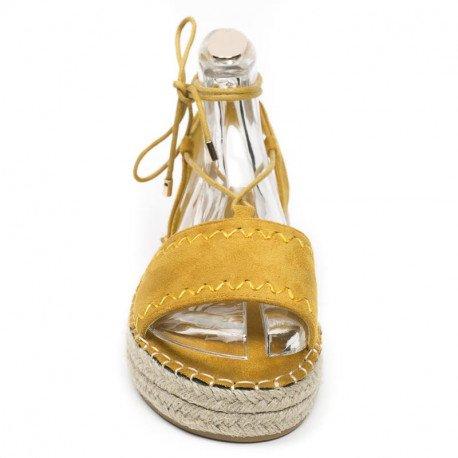 Ideal Shoes - Sandales plates effet daim Tricia Jaune