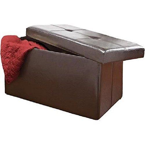 Neue Braun Ottoman Leder Sofa Aufbewahrung Stoff Bench Box Glitzerelementen Decke (Doppel-osmanischen)