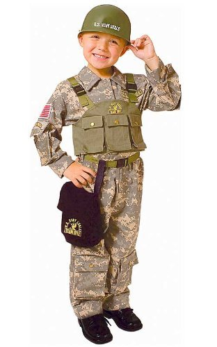 Dress up America Toddler T4 Army Special Forces Costume Set with Navy Seal Helmet by Dress Up ()