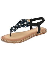Minetom Donna Ragazze Estate Casuale Pantofole Boemia Fiori Strass in Rilievo Infradito Flip Flops Antiscivolo Clip Toe Sandali Scarpe Piatto Nero EU 36
