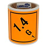 Gefahrgutaufkleber - Klasse 1 - Explosive Stoffe (1,4 - G - 1) - 100 x 100 mm - 100 Gefahrgutetiketten, Papier, orange, permanent haftend