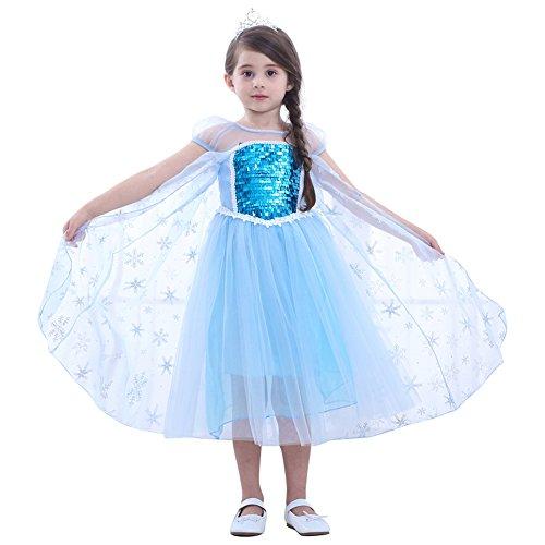 Ballett Kostüm Schneekönigin - Le SSara 2018 Silvester Weihnachten Cosplay Mädchen Schnee Prinzessin Kleid Kostüme (110, E12-Kurzarm)