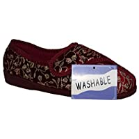 LADIES FULLY WASHABLE LADIES Touch Fastening STRAP SHOE SLIPPER BURG 6