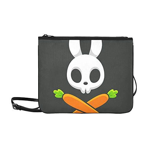 WYYWCY Niedliche Kaninchen und Karotten Muster benutzerdefinierte hochwertige Nylon dünne Clutch Crossbody Tasche Umhängetasche -