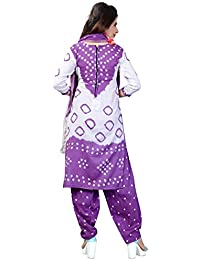 Taboody Empire Athletic Puple Satin Cotton Handi Crafts Bandhani Work With Straight Salwar Suit For Girls And...