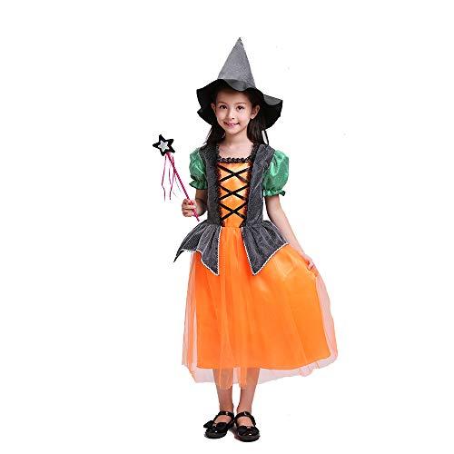 QINGQING Kinder Baby Mädchen Hexe Dress up Halloween Kinder Durchführung Kleidung Kostüm Kleid Party Kleider + Hexe Hut + Candy Tasche Kinder Mädchen Halloween Kleidung Kostüm (Size : 100(3-4years))