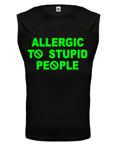 buXsbaum® Tank Top Allergic to stupid people Black-Neongreen