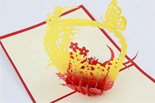 Bc worldwide ltd pop-up 3d pop-up pop-up valentines card carta festa della mamma carta di pasqua festa del papà origami kirigami papercraft arte cesto di fiori natale carta natale biglietto di auguri biglietto di auguri amicizia carta oro rosso giardino amore suo taglio laser