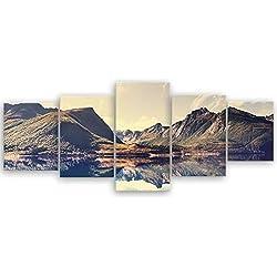 ge Bildet® hochwertiges Leinwandbild Panorama XXL Naturbilder Landschaftsbilder - Norwegische Berglandschaft - Norwegen Bild Natur Berg See - 200 x 80 cm mehrteilig (5 teilig) 2213 L