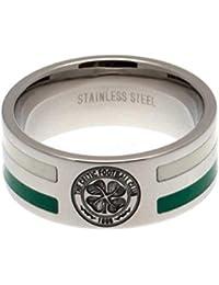 Official Celtic FC Stainless Steel Colour Stripe Ring (Medium)