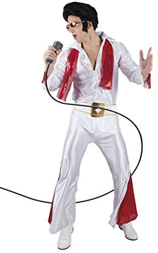Elvis-Kostüm für Männer mit Shirt, Hose, Gürtel & Schal in Rot & Weiß, Größe 54 / 56 | 50er-Jahre Rockstar-Kostüm für Erwachsene | Rock 'n' Roll Star, Rockabilly Outfit für (Rockstar Tanz Kostüm)