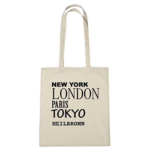 JOllify Heilbronn di cotone felpato B985 schwarz: New York, London, Paris, Tokyo natur: New York, London, Paris, Tokyo
