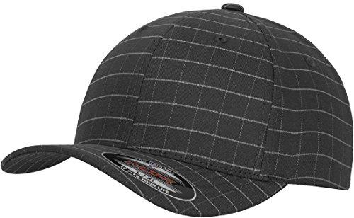 Yupoong Flexfit by Adulte carré Motif à Carreaux Casquette Unisexe 6 Panneaux Sports Peak Hat - Gris -