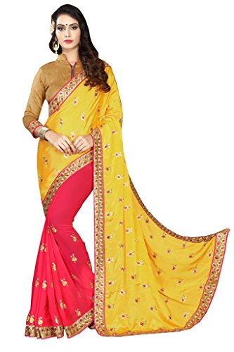 Bipolar Life Women's Georgette Zari Embroidered Saree With Blouse Piece (Yellow And...