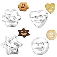 Queta Smiley - Molde para Galletas (4 Piezas, Acero Inoxidable, Forma de corazón