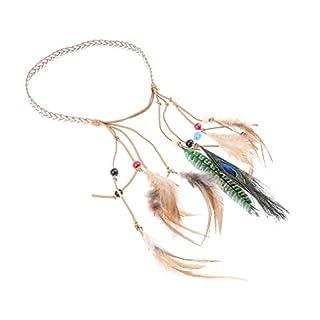 D DOLITY Vintage Feathers Headband Bohemia Tassels Braided Headdress Gypsy Hairband