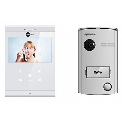 """Preisvergleich Produktbild Türsprechanlage mit Video NeoLight 2-Draht mit 4,3"""" Ultraschlankem Touchscreen-Monitor und Aufputz Türstation mit 120° Weitwinkel-Kamera"""