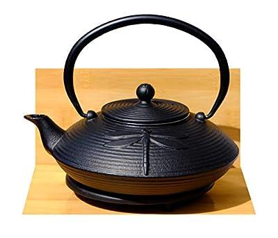 GOTO en Fonte Noir Libellule Théière 0.8Litre Dessous de Plat Rond de Style Japonais