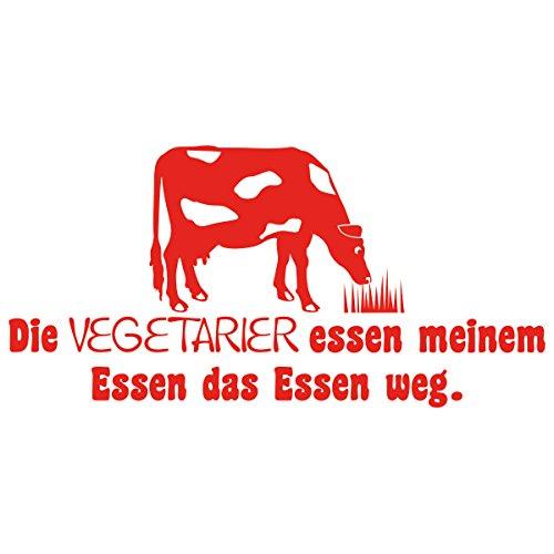 WANDKINGS Wandtattoo - Die Vegetarier essen meinem Essen das Essen weg (mit Kuh Silhouette) - 75 x 38 cm - Hellrot - Wähle aus 5 Größen & 35 Farben