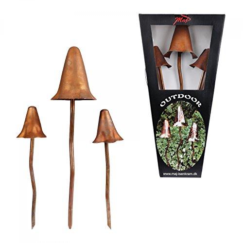 3-tlg. Set Deko-Pilze matt-bronze Outdoor-Skulptur | Deko für Garten, Teich, Terrasse, Blumen-Beet & Grünanlagen