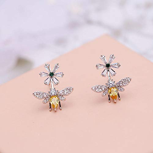 YYAMOMO Women's Earrings Exquisite Compact Personality Bee Inlaid Zircon 925 Sterling Silver Needle Beautiful Beautiful Girl Ladies Jewelry Charm (Copy) @02 - Womens Compact