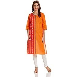Aurelia Women's Straight Kurta (17FEK12956-78638_XL_ORANGE)