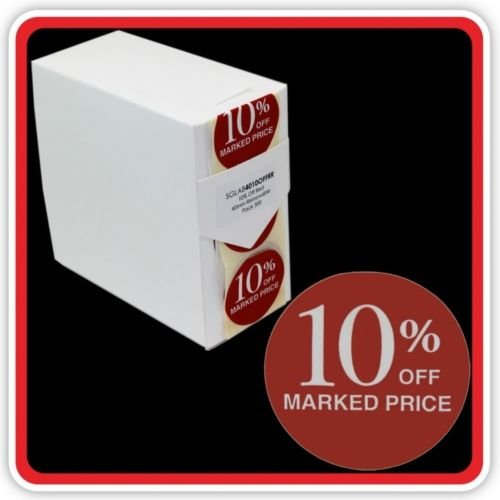 500 10% OFF MARKED PRICE Labels Self Adhesive 40mm Promotional Discount Label