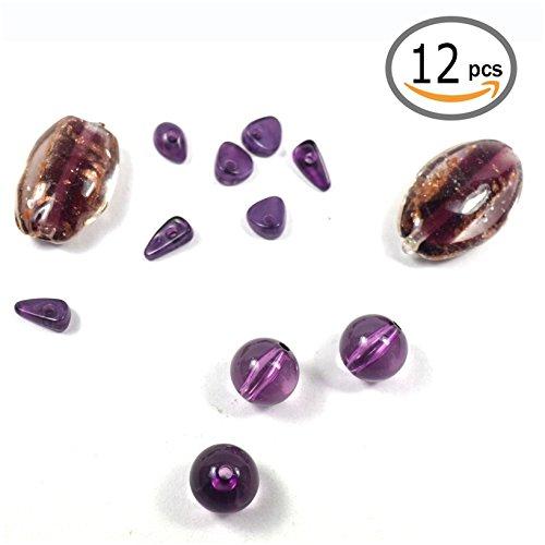 Unbekannt Générique 12Stück Perlen Edelstein Amethyst violett Kleine Steine geschliffen Edelsteine Perlen