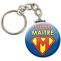 PORTE CLÉS Chaînette 3,8 cm ✩ Super Maître ✩ (idée cadeau école fin d' année scolaire instituteur enfant éducation)