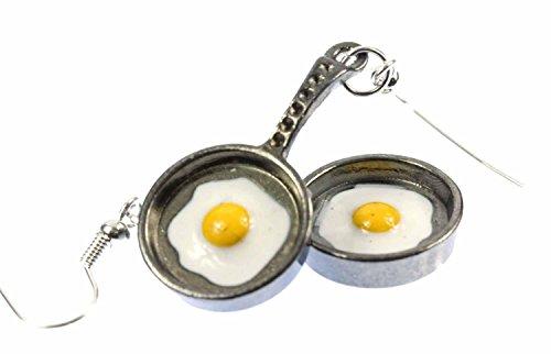 Bratpfanne mit Spiegelei Ohrringe Miniblings Pfanne Pfannen Ei Metall anthrazit (Metall Bratpfannen)