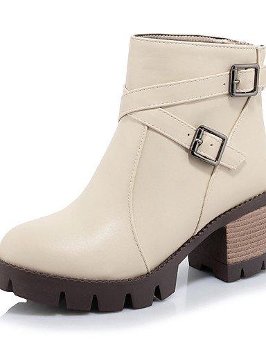 Sapatos Botas Calcanhares De / Sapatos De Plataforma Shangyi Moda Feminina Leatherette Escritório Ao Ar Livre E Carreira Bege Ocasional