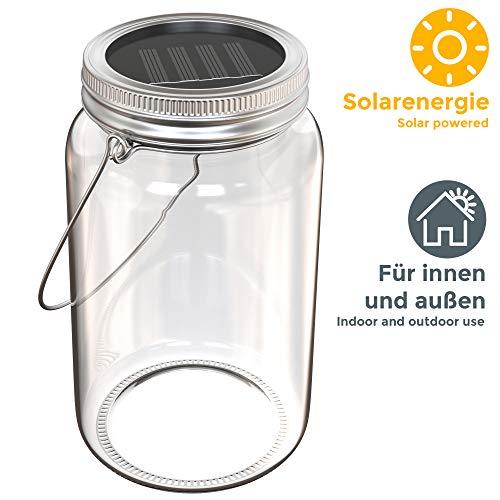 Lampada solare a forma di barattolo, Lanterna LED in vetro per creare decorazioni personalizzate, Luce per cene e serate all\'aperto, da appoggiare sul tavolo o appendere durante le feste, IP44