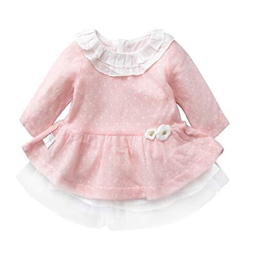 Butterfly BB Vêtements pour Enfants Automne Nouvelle Robe de Princesse Douce Enfants Pull Rose Maille Robe pour Enfants,73